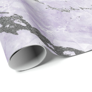 Purple Amethyst White Silver Gray Marble Shiny Wrapping Paper