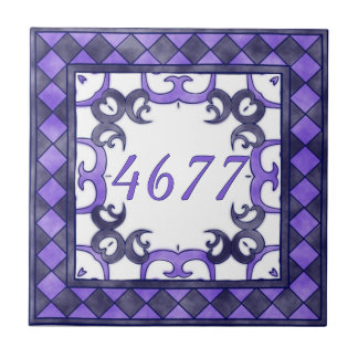 Purple and  Anthracite Small House Number Small Square Tile