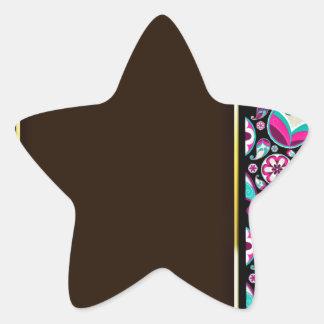 Purple and aqua blue damask wedding gift star sticker