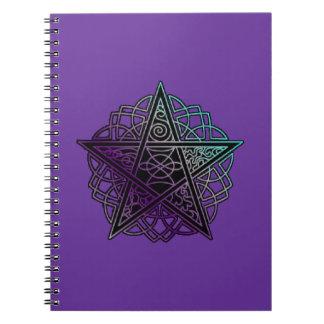 Purple and aqua intricate pentacle notebooks