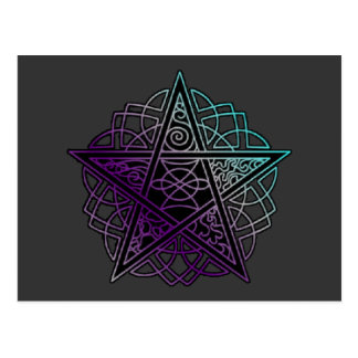 Purple and aqua intricate pentacle postcard