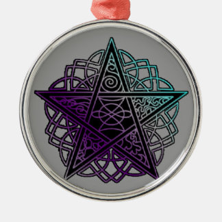 Purple and aqua intricate pentacle Silver-Colored round decoration