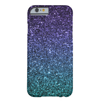 Purple and Aqua Ombre Faux Glitter Barely There iPhone 6 Case