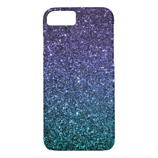 Purple and Aqua Ombre Faux Glitter iPhone 7 Case