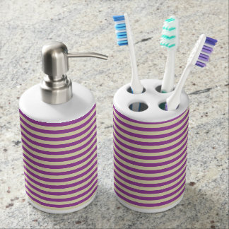 Purple and Beige Stripes Soap Dispenser And Toothbrush Holder