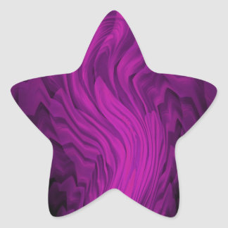 Purple and Black Abstract Art Star Sticker