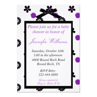 "Purple and Black Baby Shower Invitation 5"" X 7"" Invitation Card"