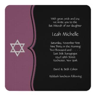 Purple and Black Bat Mitzvah 13 Cm X 13 Cm Square Invitation Card
