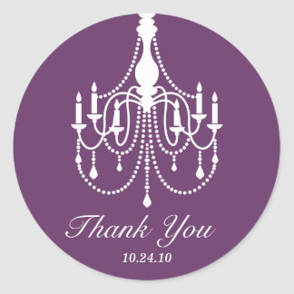 Purple and Black Chandelier Thank You Classic Round Sticker