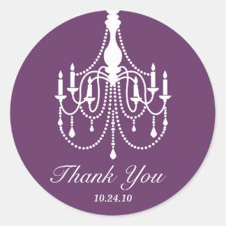 Purple and Black Chandelier Thank You Round Sticker