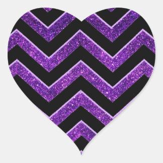 Purple and Black Chevron Pattern. Heart Sticker