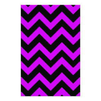Purple And Black Chevrons Personalized Stationery