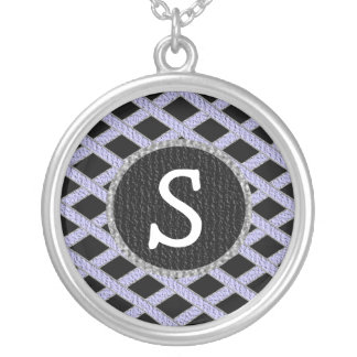 Purple and black crisscross monogram necklace