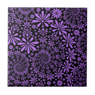 Purple and Black Cute Floral Pattern Ceramic Tiles