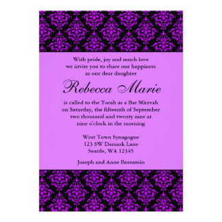 Purple and Black Damask Bat Mitzvah Invites