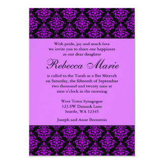 Purple and Black Damask Bat Mitzvah 5x7 Paper Invitation Card