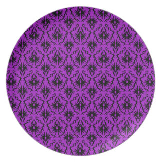 Purple and Black Damask Design. Gothic. Plate