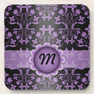 Purple and Black Damask Monogram Coasters