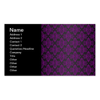 Purple and Black Damask Pattern Pack Of Standard Business Cards