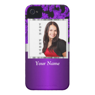 Purple and black damask photo template iPhone 4 Case-Mate cases