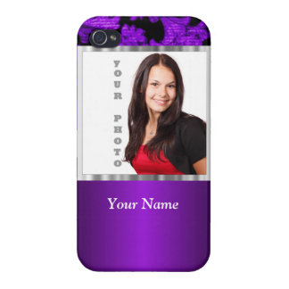 Purple and black damask photo template iPhone 4 cover