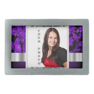 Purple and black damask photo template rectangular belt buckle