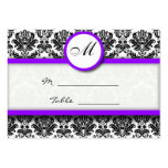Purple and Black Damask Place Card Holder