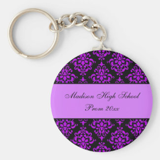 Purple and Black Damask Prom Formal Favor Basic Round Button Key Ring