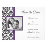 Purple and Black Damask Save the Date Photo Cards