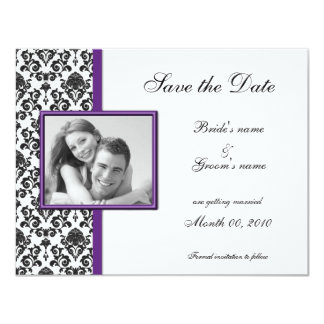 Purple and Black Damask Save the Date Photo Cards 11 Cm X 14 Cm Invitation Card
