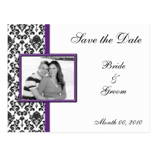 Purple and Black Damask Save the Date Postcards