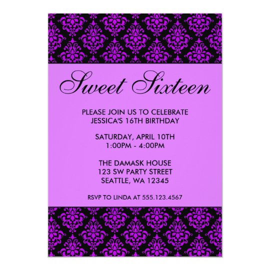 Purple and Black Damask Sweet Sixteen Birthday Card