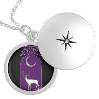 Purple And Black Deer In The Forest Celtic Art Locket