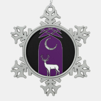Purple And Black Deer In The Forest Celtic Art Snowflake Pewter Christmas Ornament