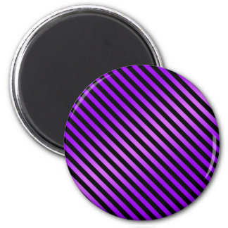 Purple and Black Diagonal Stripes 6 Cm Round Magnet