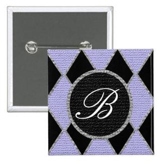 Purple and black diamond monogram sparkle button