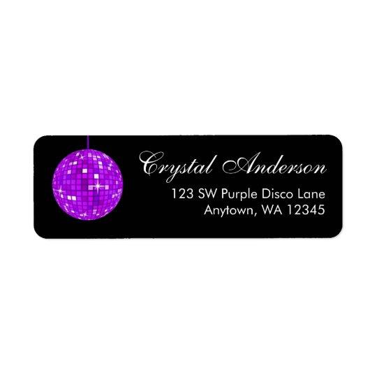 Purple and Black Disco Ball Return Address Return Address Label
