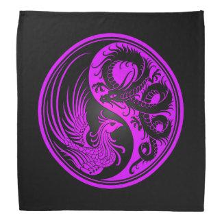 Purple and Black Dragon Phoenix Yin Yang Bandana