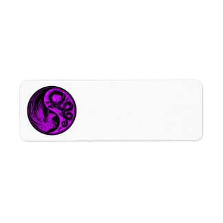 Purple and Black Dragon Phoenix Yin Yang Return Address Label