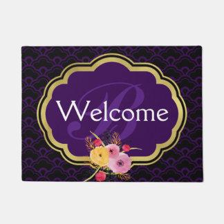 Purple and Black Fancy Scallops Monogrammed Doormat
