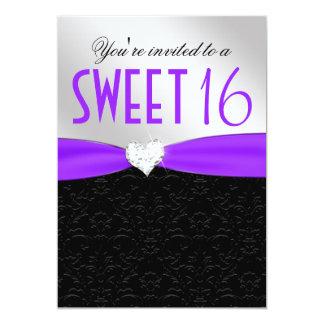 Purple and Black Floral Damask Diamond Heart 13 Cm X 18 Cm Invitation Card