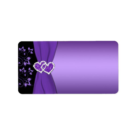 Purple and Black Floral Hearts Label - Blank