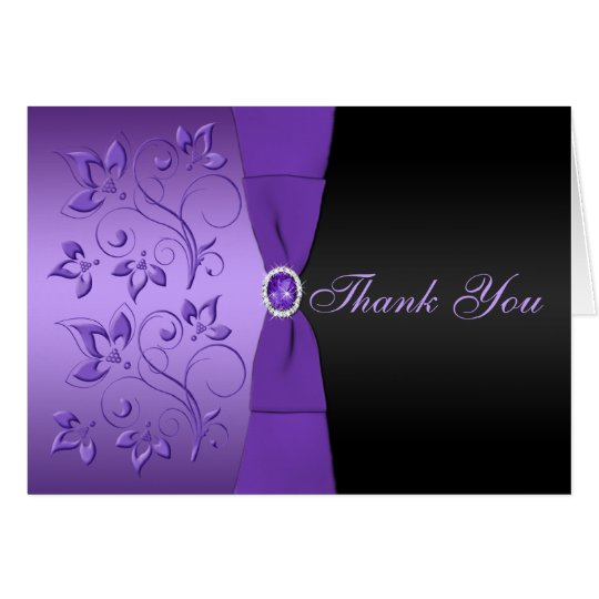 Purple and Black Floral Thank You Card