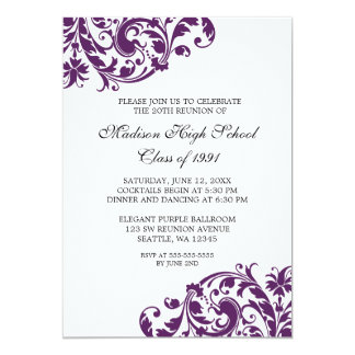 Purple and Black Flourish Class Reunion 13 Cm X 18 Cm Invitation Card