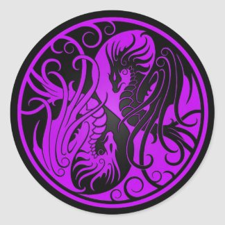 Purple and Black Flying Yin Yang Dragons Round Sticker