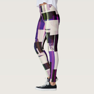 Purple and black geometric print on leggings