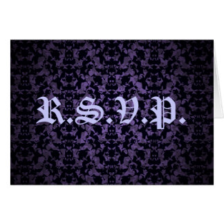 Purple and black Gothic elegant R.S.V.P. card