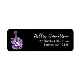 Purple and Black Guitar Rock Star Return Address Label