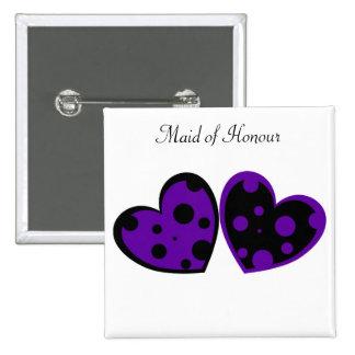 Purple And Black Hearts Button