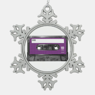 Purple and Black Houndstooth Label Cassette Ornament